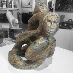 soapstone sculpture of sedna with shaman by master sculptor abraham ruben