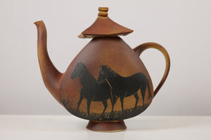 Ceramic Tea Pot with Decorative Horses