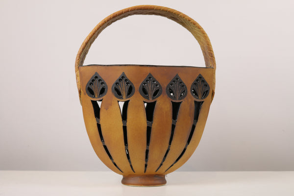 Ceramic Basket with Decorative Leaves