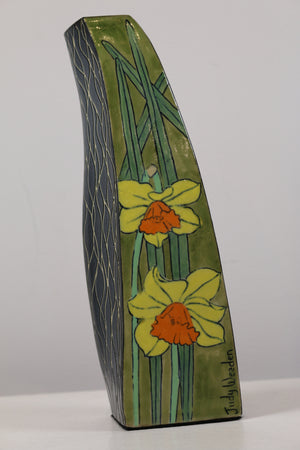 Ceramic Vase with Coloured Daffodil Flower Images