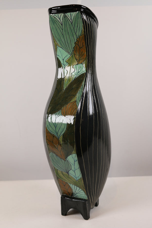 """Black Swinger Vase with Leaves"""