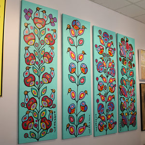 """Four Seasons"" Original by Norval Morrisseau Copper Thunderbird 
