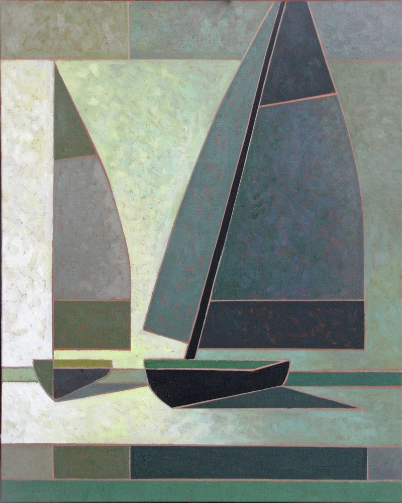 Philip Mix West Coast Artist Paints Sailboats with Oil Paint on Linen in his colour conscious style with soft blues and greens