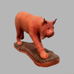 Linx Minature Animal wood carving by Salt Spring Island artist Jim Dearing