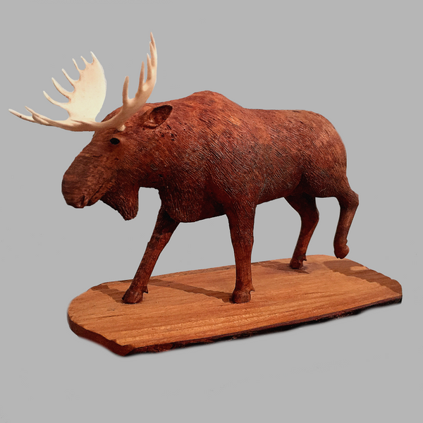 Moose Miniature Animal wood carving by Salt Spring Island artist Jim Dearing