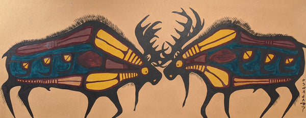 Original Norval Morrisseau Painting of two bull moose from the mid 1960s