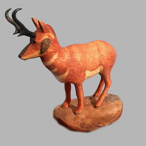 Pronghorn Miniature Animal wood carving by Salt Spring Island artist Jim Dearing