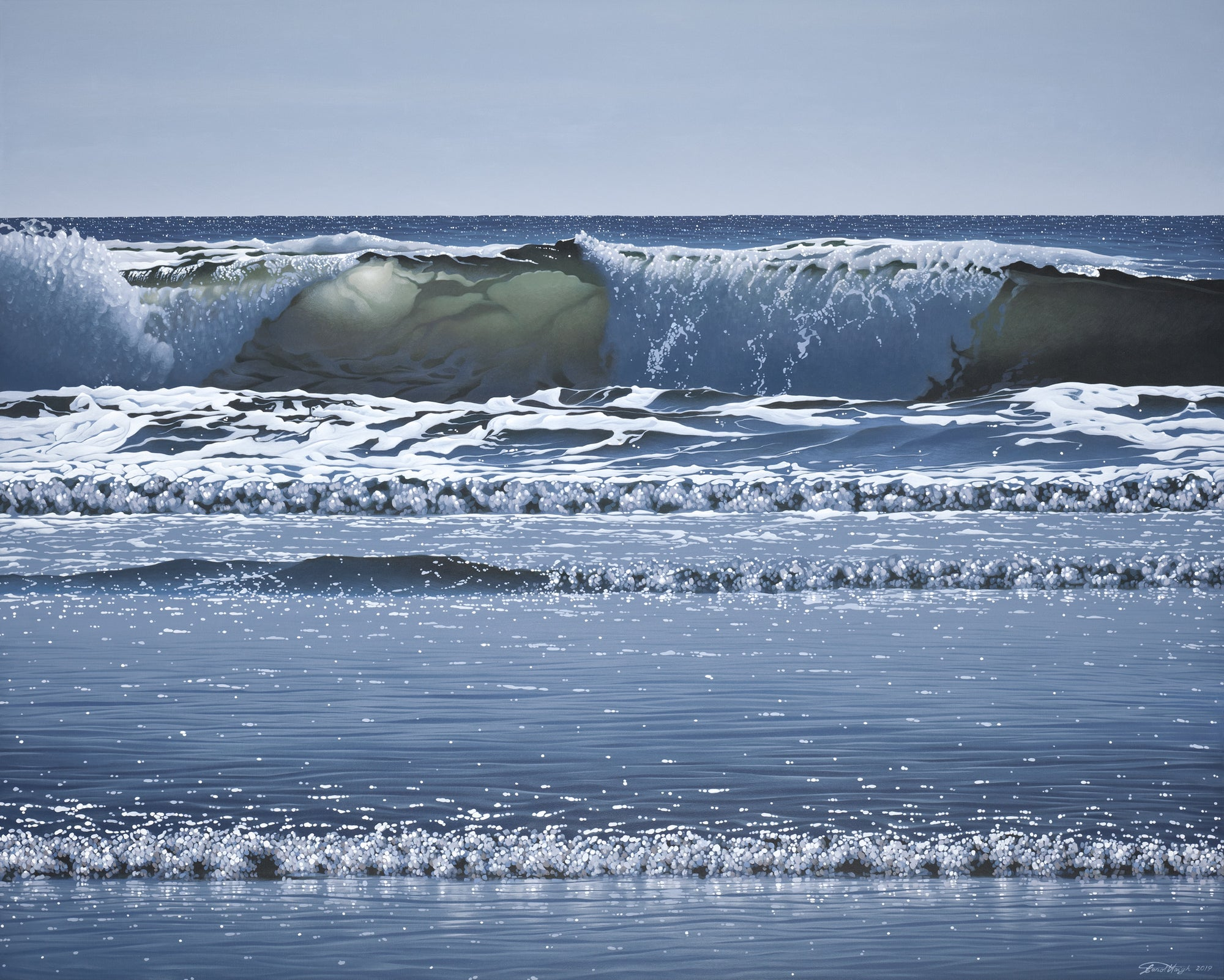Acrylic high realism painting by renown Salt Spring Artist Carol Haigh depicting waves crashing on beach