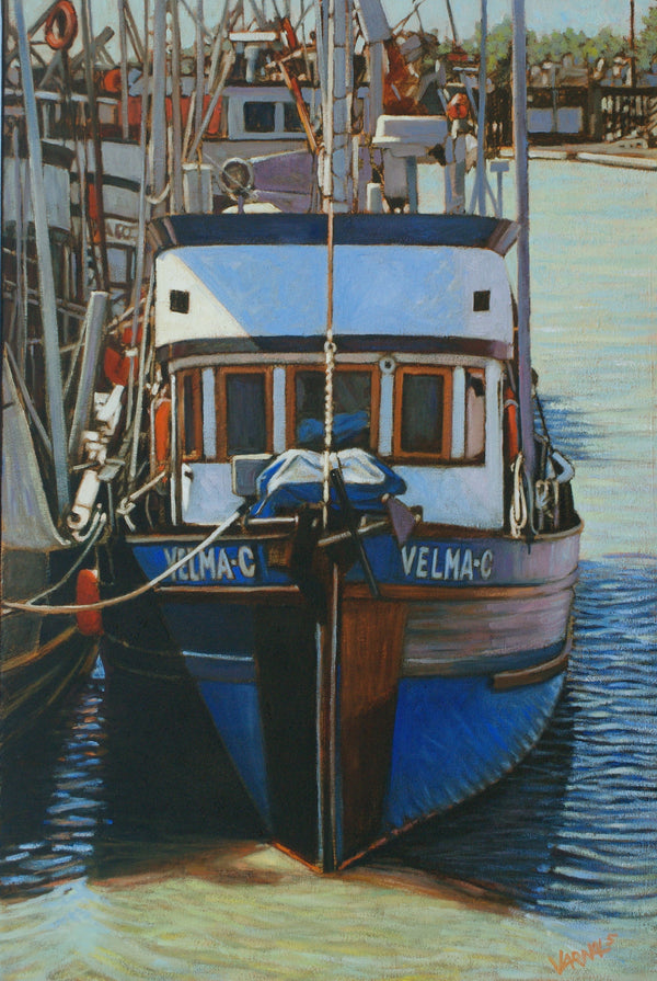 Velma C. Oil Painting of Boat on Water by Dan Varnals