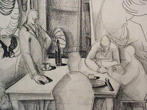 close up 1940s Original Charcoal Drawing by Jack Shadbolt - Art School Lunchroom