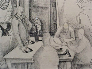middle of 1940s Original Charcoal Drawing by Jack Shadbolt - Art School Lunchroom