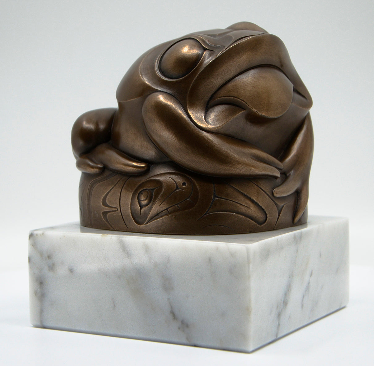 """West Coast Frog"" (bronze on marble)"