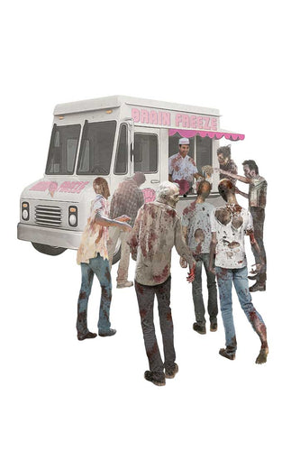 Zombie Ice Cream Vender (serving frozen brains) <br> <span style=