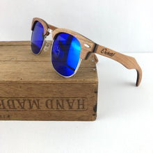 Load image into Gallery viewer, FMX sunglasses in cherry wood/blue