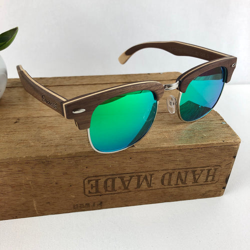 FMX sunglasses in walnut/green-blue