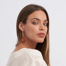 Load image into Gallery viewer, Dot bar foil drop earrings