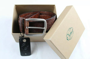 Brown leather embossed belt