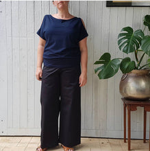 Load image into Gallery viewer, Black drill linea pant