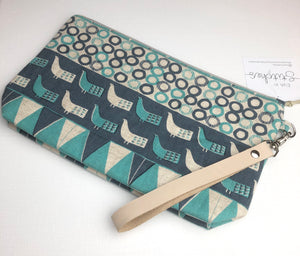 Fabric clutch with strap