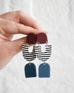 Teagan dangles - wine/stripe/blue
