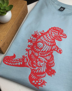 Godzilla tee - pale blue/red