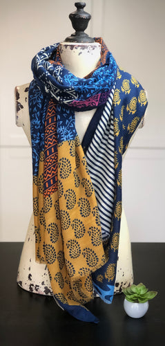 Navy/multi, block print scarf