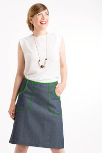 Avril skirt - denim/green
