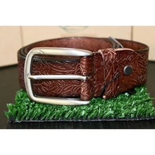 Load image into Gallery viewer, Brown leather embossed belt