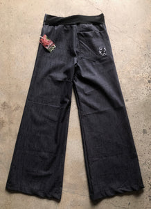 Black denim linea pant