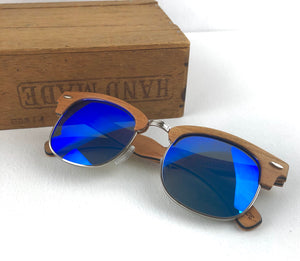 FMX sunglasses in cherry wood/blue