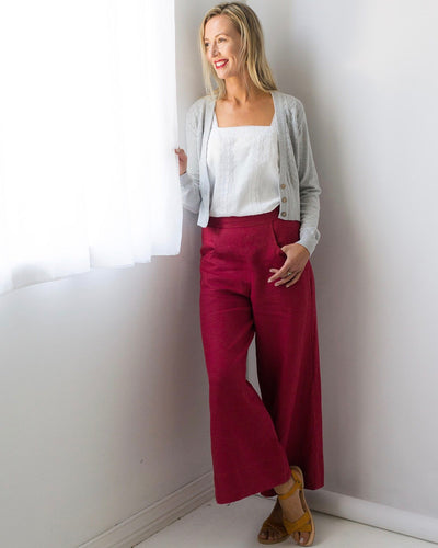 Ollie linen pant in Raspberry