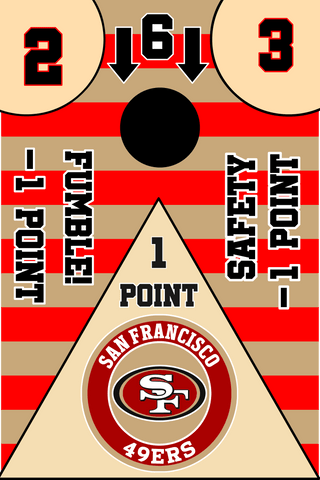 Image of San Francisco 49ers Full Cornhole Board Wraps Set 49ers Tailgate Toss Game 3 Day Shipping