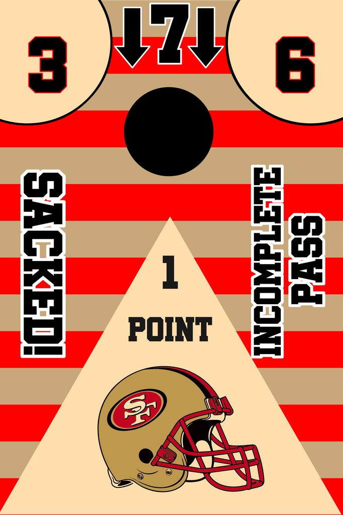 San Francisco 49ers Full Cornhole Board Wraps Set 49ers Tailgate Toss Game 3 Day Shipping