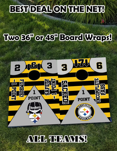 Image of Denver Broncos Full Cornhole Board Wraps Set Broncos Tailgate Toss Game 3 Day Shipping New