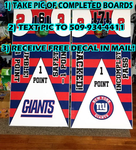 Image of New York Giants Full Cornhole Board Wraps Set Giants Tailgate Toss Game 3 Day Shipping New