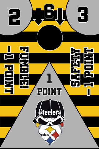 Image of Pittsburgh Steelers Full Cornhole Board Wraps Set Steelers Tailgate Toss Game 3 Day Shipping New