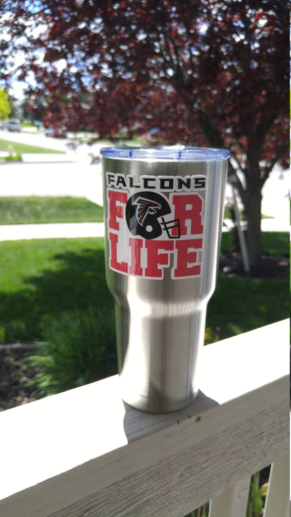 "Falcons ""For Life"" Tumbler Vinyl Decals fits 30oz & 20oz Tumblers Buy 2 Get 1 Free! Free Shipping!"