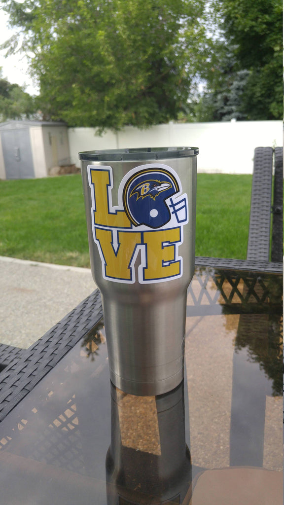 "Ravens ""Love"" Tumbler Vinyl Decal fits 30oz & 20oz Tumblers Buy 2 Get 1 Free! Free Shipping!"