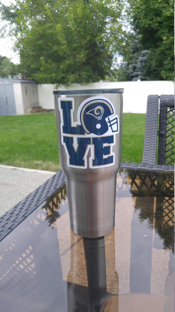 "Rams ""Love"" Tumbler Vinyl Decal fits 30oz & 20oz Tumblers Buy 2 Get 1 Free! Free Shipping!"