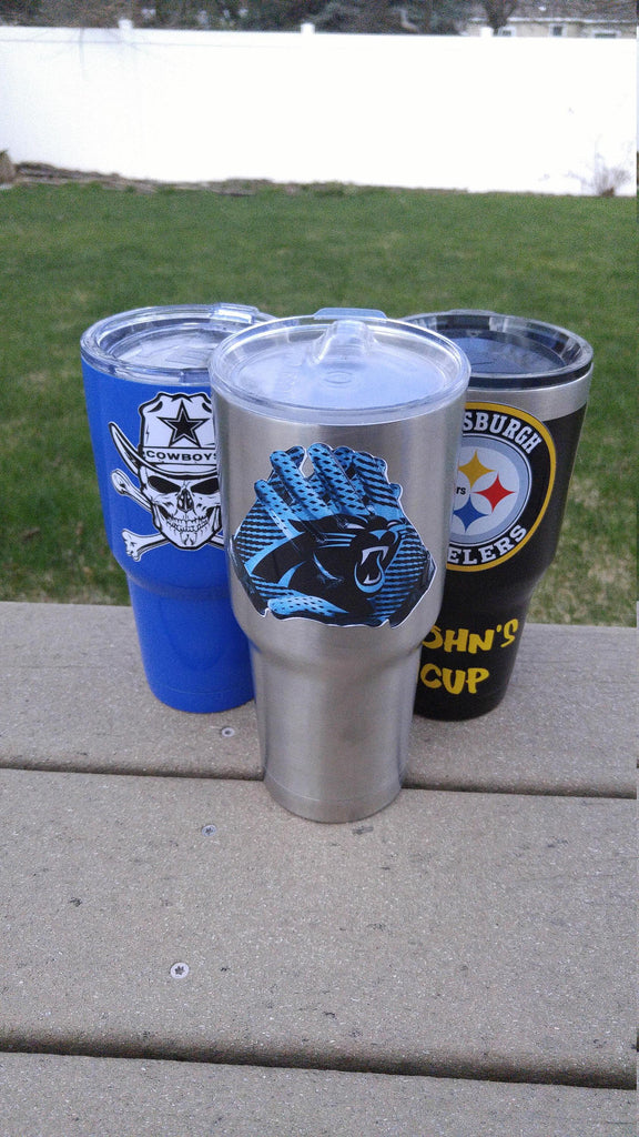 "Panthers ""Glove"" Tumbler Vinyl Decals fits 30oz & 20oz Tumblers Buy 2 Get 1 Free! Free Shipping"