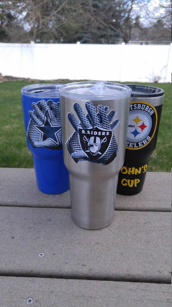 "Raiders ""Glove"" Tumbler Vinyl Decals fits 30oz & 20oz Tumblers Buy 2 Get 1 Free! Free Shipping"