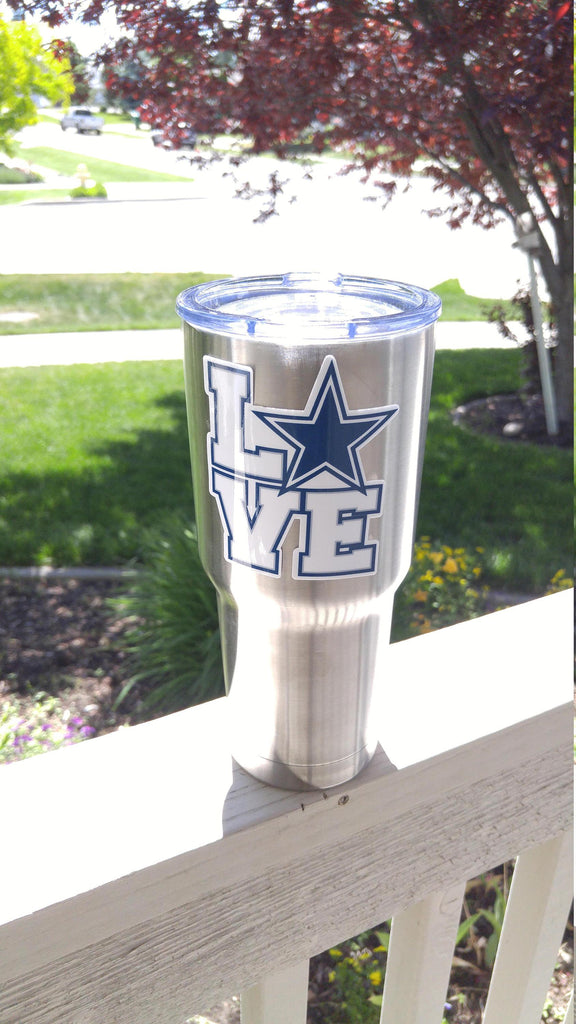 "Cowboys ""Love"" Tumbler Decals fits 30oz & 20oz Tumblers Buy 2 Get 1 Free! Free Shipping!"