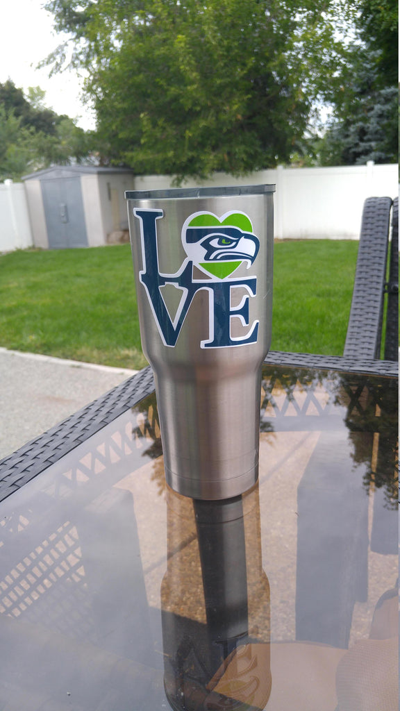 "Seahawks ""Love""  Tumbler Vinyl Decal fits 30oz & 20oz Tumblers Buy 2 Get 1 Free! Free Shipping!"