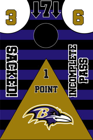 Image of Baltimore Ravens Full Cornhole Board Wraps Set Ravens Tailgate Toss Game 3 Day Shipping New