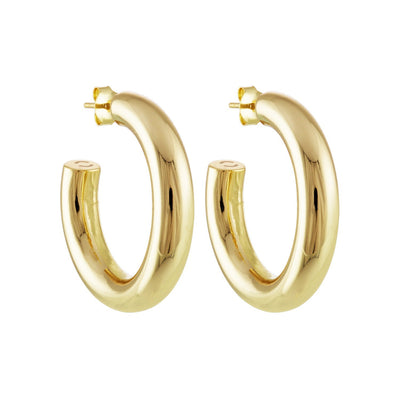 "Machete 1"" medium perfect hoop earrings in 14k gold-1"