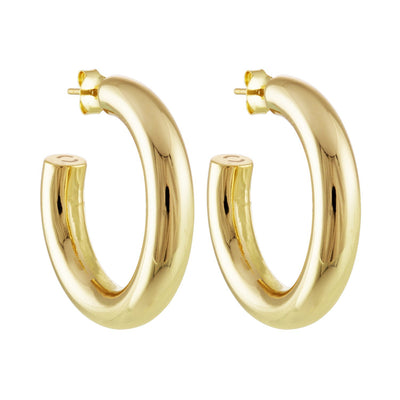 "Machete 1.5"" medium perfect hoop earrings in gold."