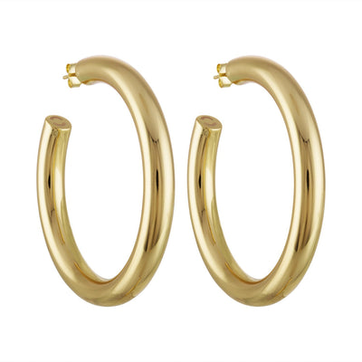 "Machete 2"" large perfect hoop earrings in 14k gold."