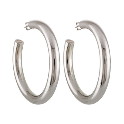 "Machete 2"" large perfect hoop earrings in silver."