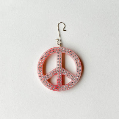 "2.5"" Peace Ornament with Crystals in Bright Pink - Machete Jewelry"