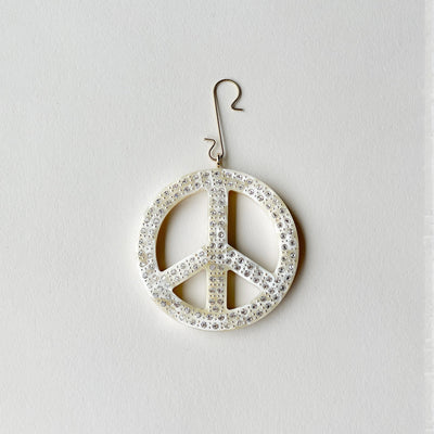 "2.5"" Peace Ornament with Crystals in Ivory - Machete Jewelry"